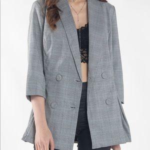 Jackets & Blazers - Multi Grey Plaid 3/4 Sleeve Blazer Jacket